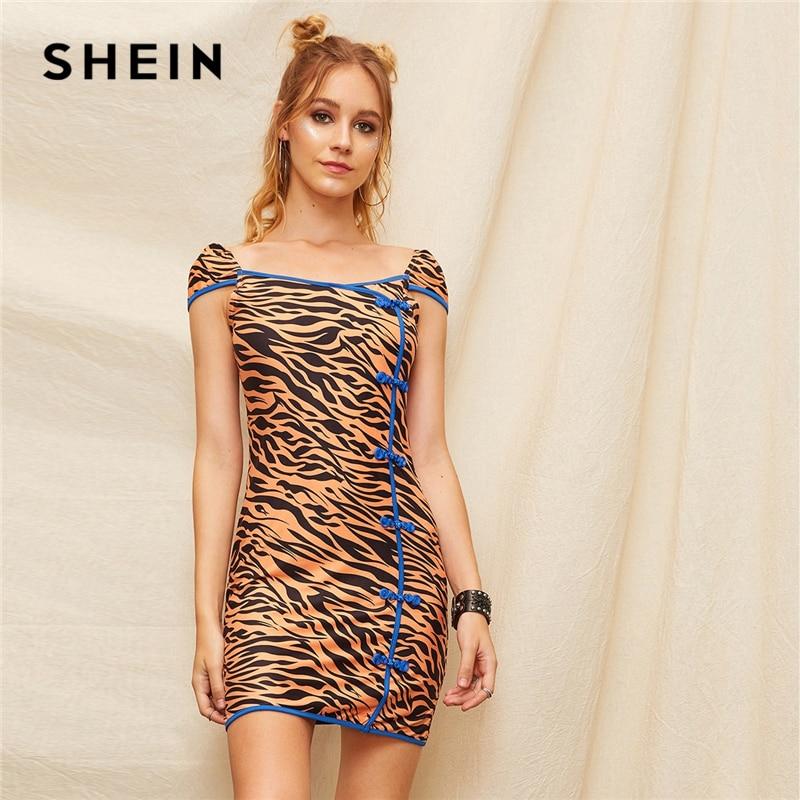 Шеин китайский стиль многоцветный контрастной окантовкой узел кнопка подробно Зебра полосатый летнее платье для женщин кепки рукавом Bodycon ...