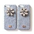 DG люксовый Бренд Ручной Работы шелк Бутона Алмазный Rhinestone Кожаный Чехол Hard Case for iPhone 7 plus телефон case Пакет i7 плюс