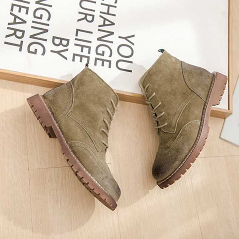 أحذية النساء 2020 الربيع جلد طبيعي الإناث مارتن الأحذية جلد الغزال النساء الجوارب البريطانية الدانتيل الرجعية الاتجاه النساء الأحذية عارية