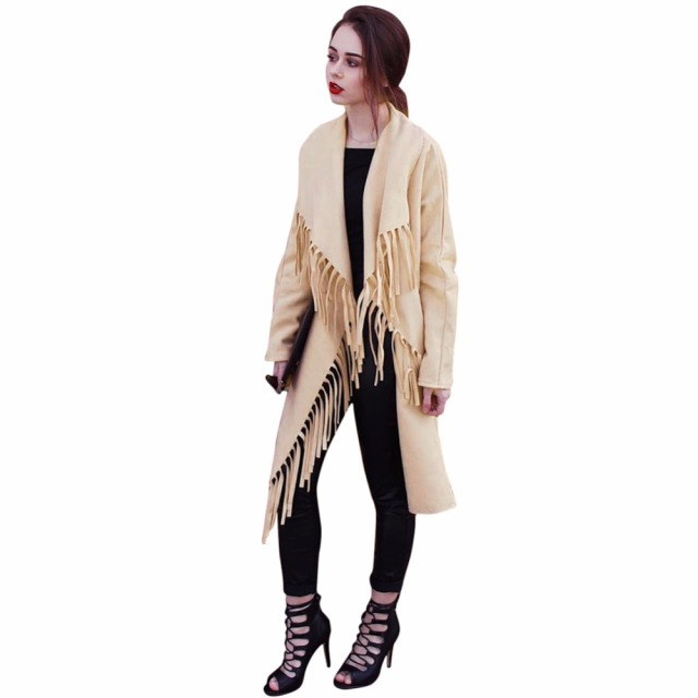 2016 Spring Autumn Long Trench Coat for Women Bayan Mont Loose Windbreaker Women Coat Fashion Tassel Outerwear Cardigan