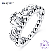 Exquisite 925 100 Solid Sterling Silver Ring Princess Queen Crown Stackable Ring With Clear CZ Diamond