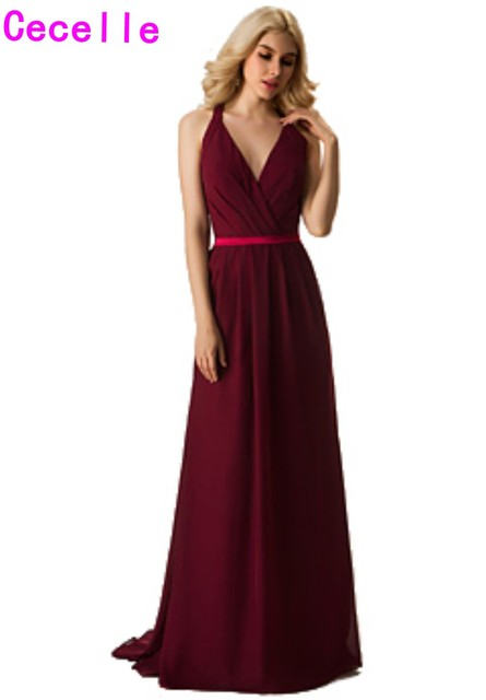 2017 Real A Line Burgundy Bridesmaid Dresses Long V Neck Women Formal Wine Red Country