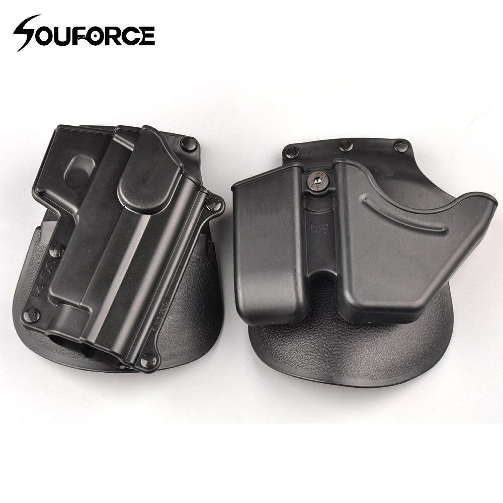 Тактичний CU9 Чорний наручники кобура Пістолет кобура подвійний стек журнал чохол для мисливських аксесуарів