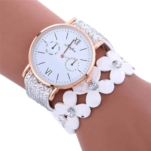 2018 New Luxury Women Watches dress Fashion Large Dial Chimes Diamond Leather Bracelet Lady Womans Wrist Watch