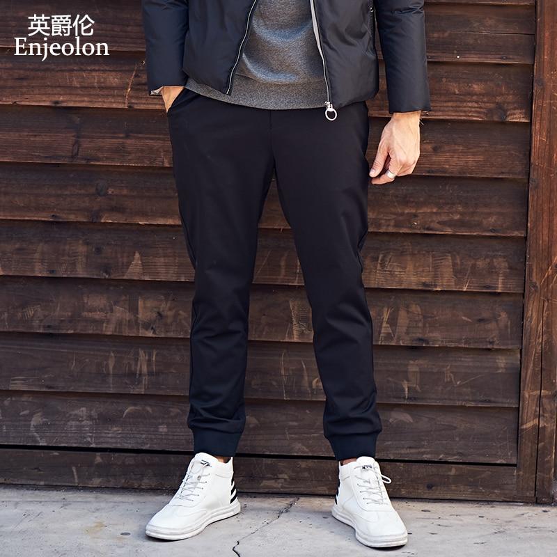 Enjeolon brand long trousers pants man cotton casual sweatpants man,black male free shipping plus size K6715