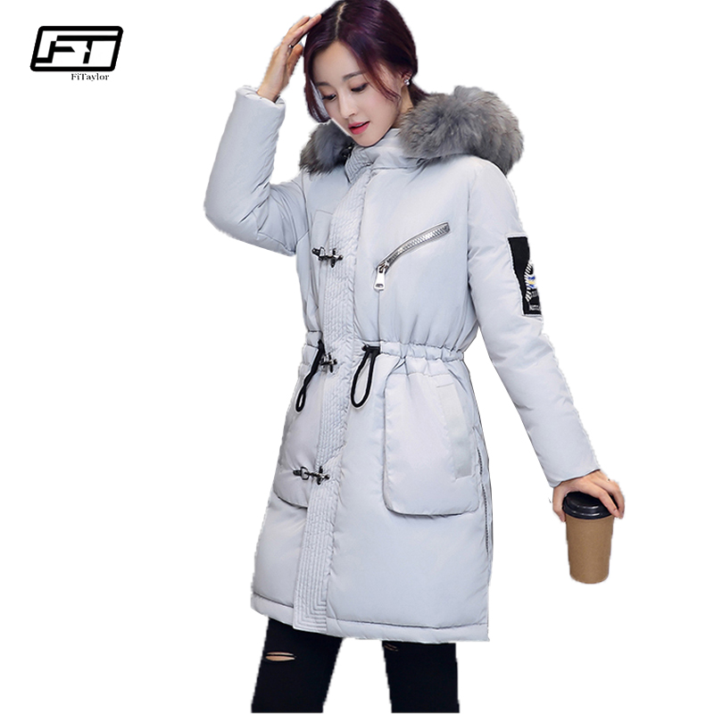 Fitaylor 2017 Womens Down Cotton Padded Coat Fur Collar Hooded Parka Girl Thick Warm Winter Jacket Medium Long Outwear fitaylor 2017 winter loose cotton padded coat women thick fur collar hooded parkas mujer warm jacket coat medium long overcoat