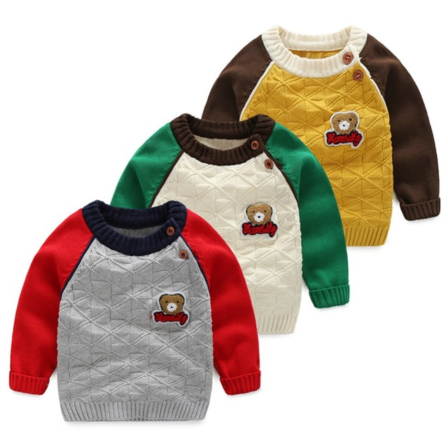 LittleSpring Autumn Winer Fashion Patchwork Cotton Baby Boy Sweater 2017 New High Quality Cartoon Knit Sweater Coat Kids Boy Top