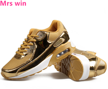 Gold Sequins Men and Women Air Running Shoes Outdoor Camping Sneakers Breathable Anti-skid Training Platform Sports Shoes