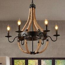 Americano cuerda lámparas colgantes clásicas lampara industrial lámpara colgante retro industrie hanglampen restaurante iluminación de Bar Accesorios