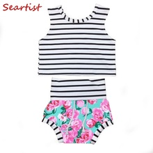Seartist Baby Girls Floral Clothing Sets T Shirt+Shorts Bebes Stripes Shorts Suits Kids Girl Clothes 2019 New 45