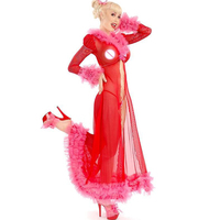 San Valentino rosso Long Night Gown Prezzo All'ingrosso Hot Sexy Biancheria Intima Pura Rosso Donna Lace Babbo Natale Lingerie W850820