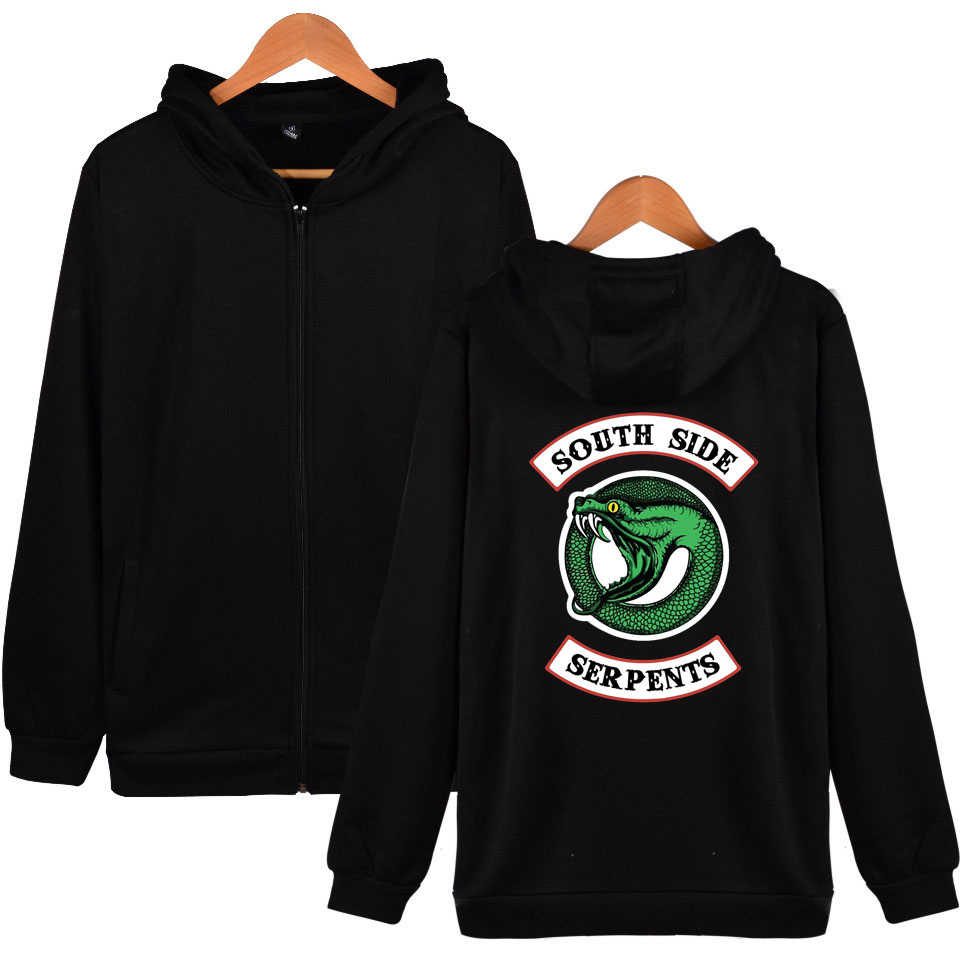 New 3D Riverdale Hoodie Sweatshirts Autumn Winter Zipper Plus Size Cotton Jackets Coats Casual South Side Serpents Hoody Hooded