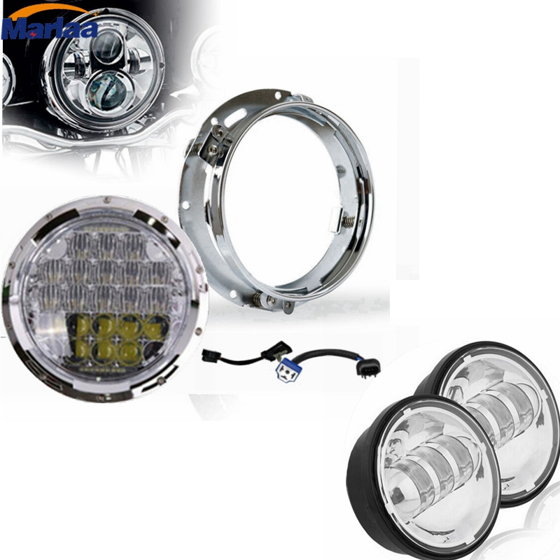 Daymaker Harley LED Headlight with 4.5 inch Passing Fog Lamps for Harley Davidson Motorcycle with Mounting Bracket & Wire adpter 7 inch black harley daymaker led headlight 2x4 1 2 fog light passing lamps for harley davidson ultra classic glide motorcycle