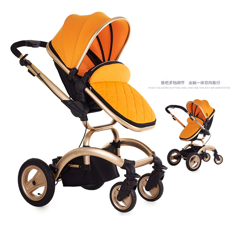 Phsun Fashion High Landscape Stroller, Bidirectional 4-wheel Shock Absorbers Pushchair,  Baby Carriage Can Sit & Lie Down 2015 baby stroller 3 in 1 600d oxford cloth pram for kids 0 3 years old baby shock absorbers pushchair with carry cot bassinet