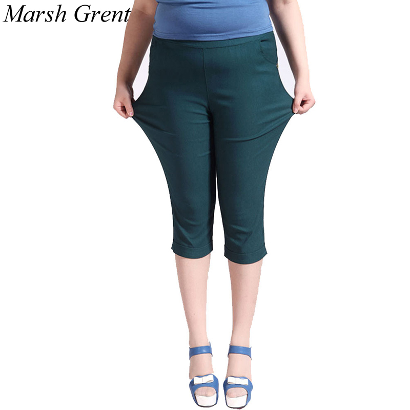 Extra Large plus size 3XL-6XL Women Casual Cotton high waist elastic   Capris   short   Pants   Trousers summer   pants   hot selling.