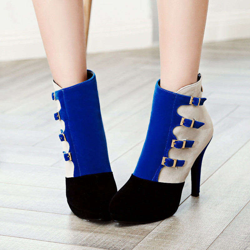 Boots Thick high heel 11cm Patchwork wedding shoes round head Women Boots High Heels Platform Buckle Short Booties Black Ladies