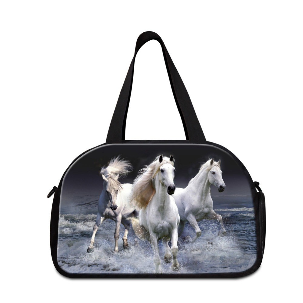 horse printing travel tote bags for men medium sized duffle bags for boys lightweight traveling bag - Travel Tote Bags