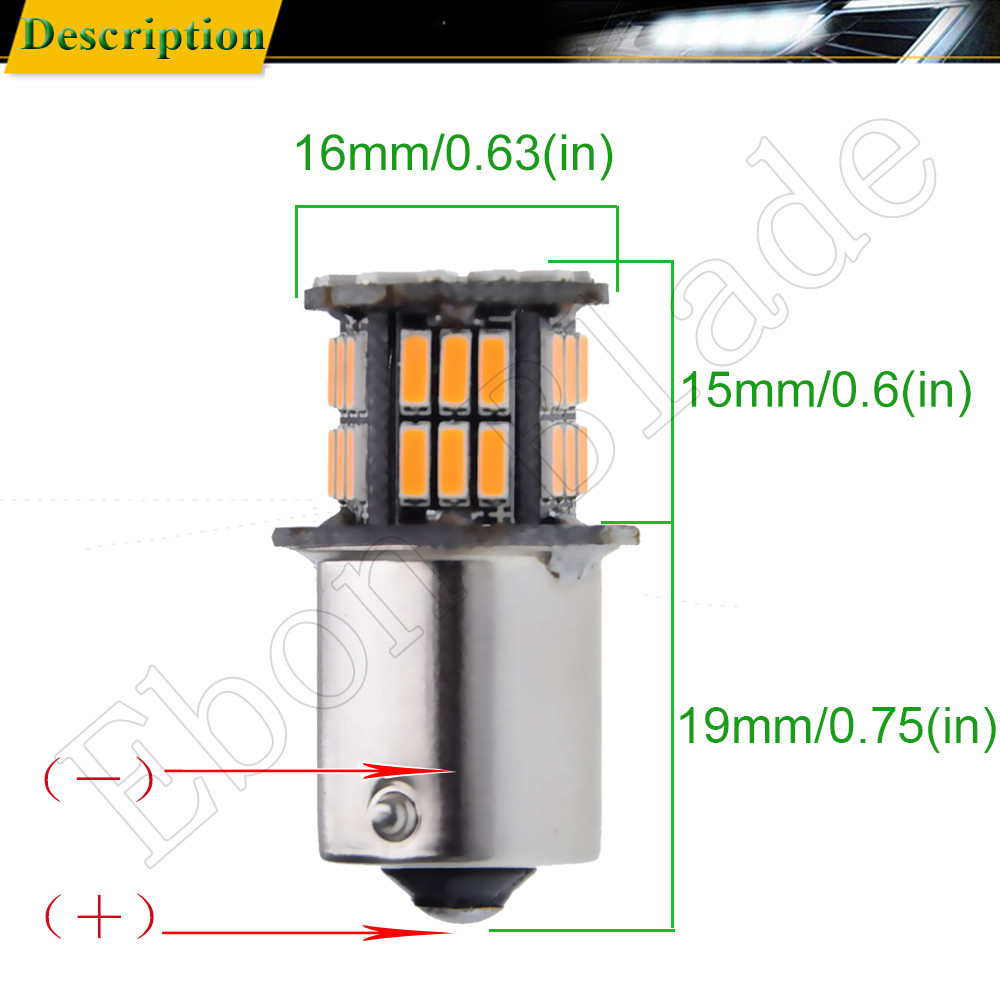 Image 3 - 2Pcs Daytime Running Light S25 1156 BA15S P21W 3014 36 SMD Auto LED Amber Orange Yellow Turn Signal Bulb Lamp Car Styling 12V DC-in Signal Lamp from Automobiles & Motorcycles
