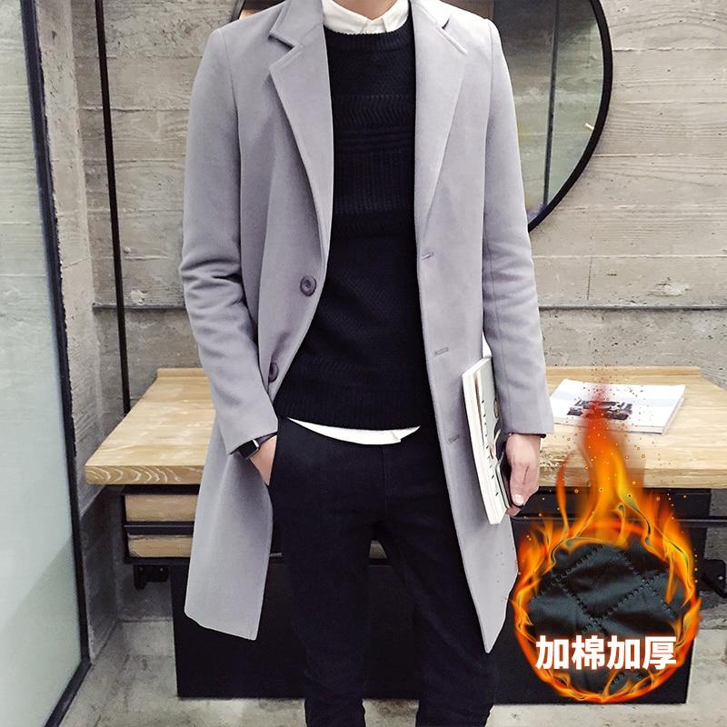 2019 Winter New Men's Fashion Boutique Thick Warm Woolen Coat / Mens Coat Jacket Men's Solid Color Long Woolen Windbreaker Coat