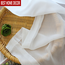 BHD Soild Tulle Sheer Window Curtains for living room the Bedroom Modern Tulle Organza Curtains Fabric Blinds Drapes for Kitchen 1 pair of sheer window tulle fabric curtains