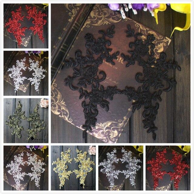 1 Paia/2 Pezzi 25*12.5 cm Vendita Calda Royal Blue Rosso Nero Oro Pizzo Ricamato