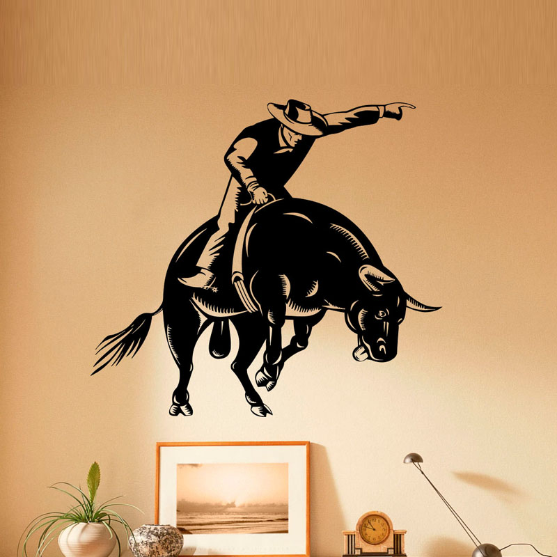 Dctop Wild West Wall Stickers Home Decor Removable Vinyl Wall Decal Sticker Bullfight Sport Wall Decoration