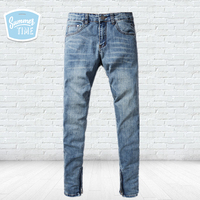 Summer Style Thin Jeans Men Brand Clothing Solid Light Blue Skinny Jeans Justin Bieber Preppy Men`s Selvedge Zipper Jeans F2002