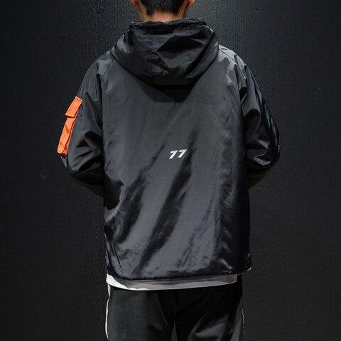 High Quality Japanese Streetwear Plus Size Casual Hooded Jackets Men Loose Front Pocket Outwear Wind Breakers Coats For Men Karachi