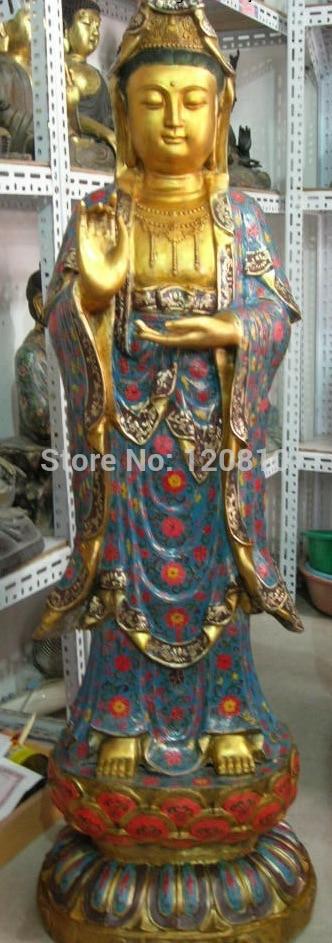59 Tibet Folk Fane bronze Cuivre cloisonné gild Kwan-yin Guan Yin Bouddha statue