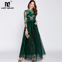New Arrival 2019 Women's O Neck Long Sleeves Embroidery Bodice Patchwork Fashion Party Prom Maxi Designer Runway Dresses