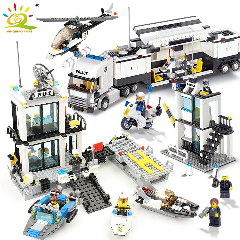 536 stücke Bausteine Polizei Station Gefängnis Figuren Kompatibel Legoed Stadt Erleuchten Ziegel Spielzeug Für Kinder Lkw Hubschrauber
