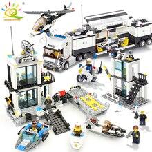 536 шт. строительные блоки полицейский участок тюрьмы цифры совместимые Legoing город просветить Кирпичи игрушки для детей грузовик вертолет
