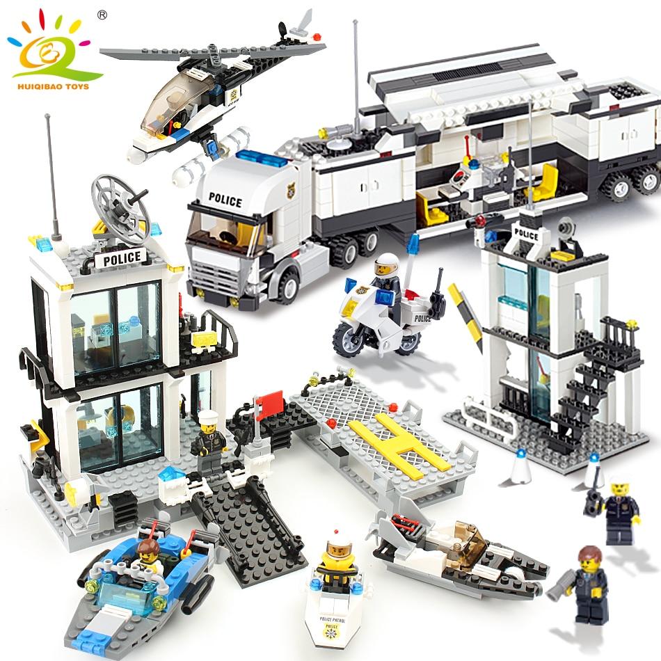 536pcs Building Blocks Police Station Prison Figures Compatible Legoed City Enlighten Bricks set Toys For Children