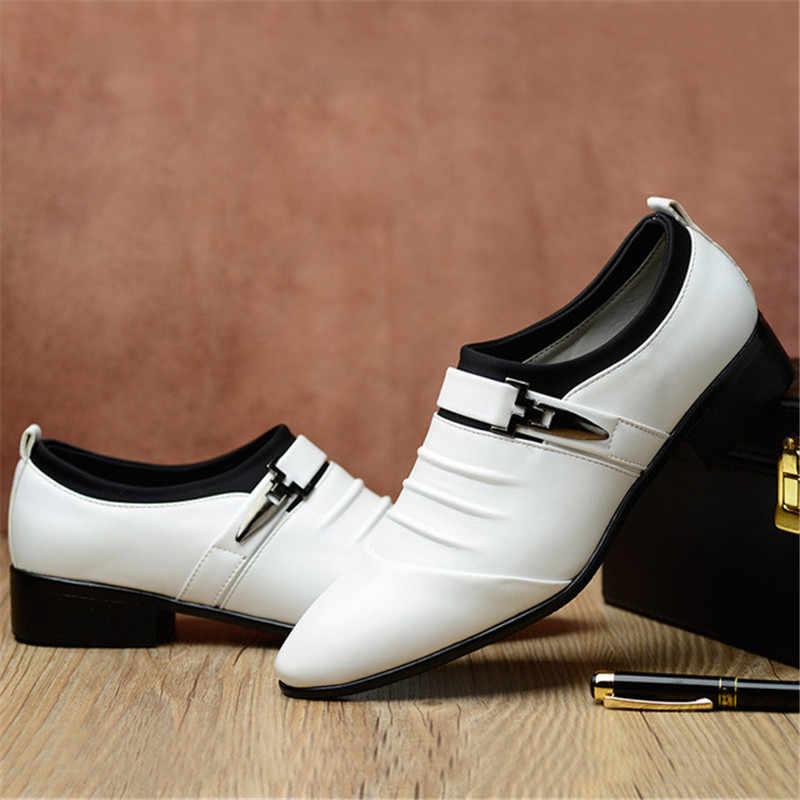 ธุรกิจคลาสสิกชายรองเท้าแฟชั่นรองเท้าแฟชั่น Elegant งานแต่งงานอย่างเป็นทางการรองเท้าผู้ชายลื่นบน Office Oxford รองเท้าสำหรับชายสีดำ 2019 ใหม่