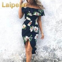 Laipelar New Stylish Elegant Women Off Shoulder Floral Print Short Sleeve Ruffles Boho Dress Ladies Evening Party Long Dresses стоимость