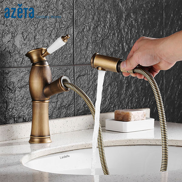 Mélangeur de salle de bain AZETA robinet de Style Vintage robinet de lavabo en laiton Antique robinet monté sur le pont robinet mitigeur de lavabo MK1606A