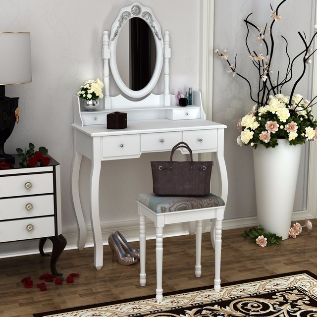 wooden dressing table white pine makeup desk with stool oval mirror 5 drawers hot sale