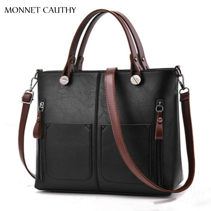 MONNET CAUTHY New Arrival Female Bags Solid Color Black Green Grey Wine Red Tote