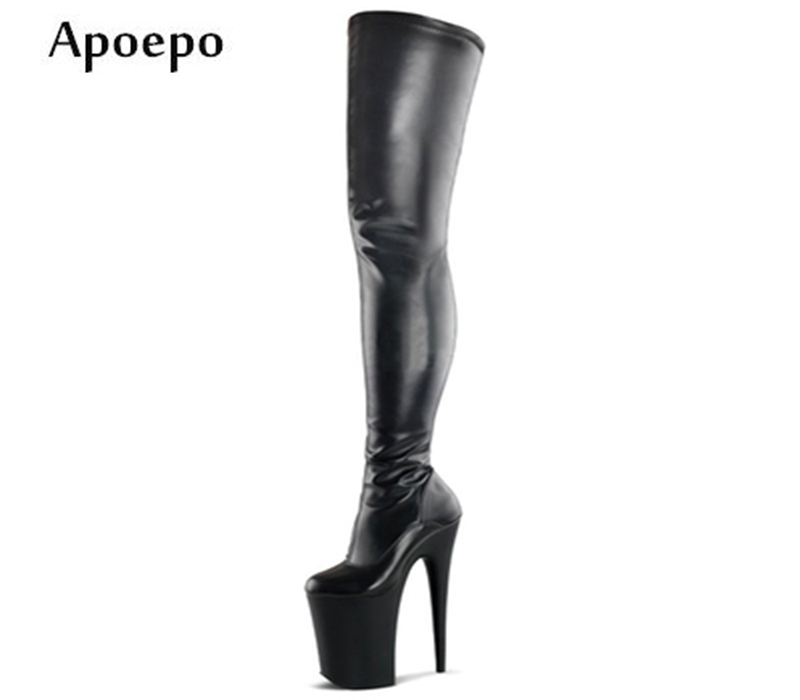 New 2018 Newest Woman High Heel Boots Super High 20CM Heels Platform Thigh High Boots Sexy Over the Knee Stage Shoes 20cm pole dancing sexy ultra high knee high boots with pure color sexy dancer high heeled lap dancing shoes