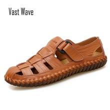 VASTWAVE New Summer Men Sandals 2018 Leisure Beach Men Shoes High Quality Genuine Leather Sandals The Men's Sandals Big size все цены