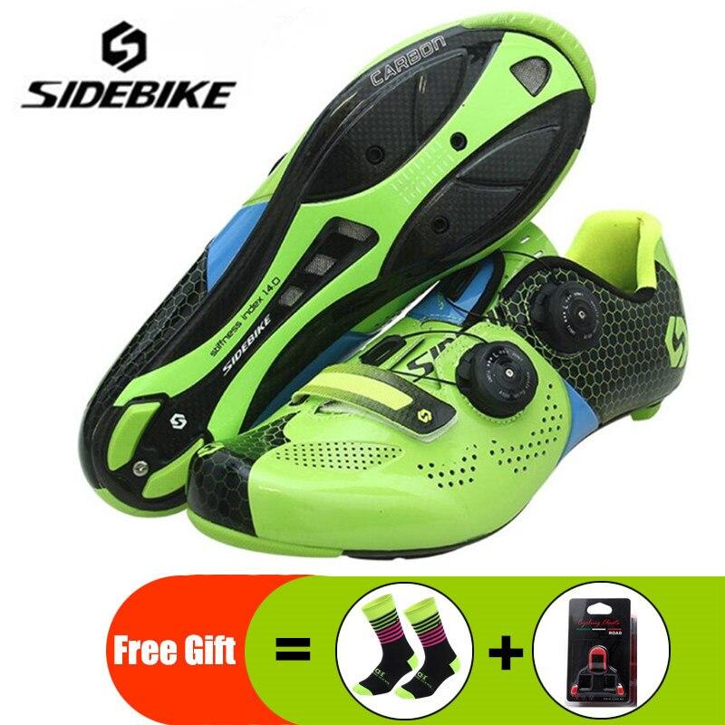 Chaussures de cyclisme sur route en Fiber de carbone chaussures de vélo de route auto-bloquantes chaussures de vélo athlétique Sapatilha Ciclismo Estrada chaussures pour hommes