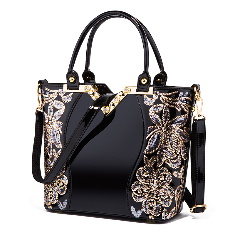 New fashion black embroidered bright leather shoulder bag portable handbags patent leather shoulder bags aliwilliam bag new patent leather