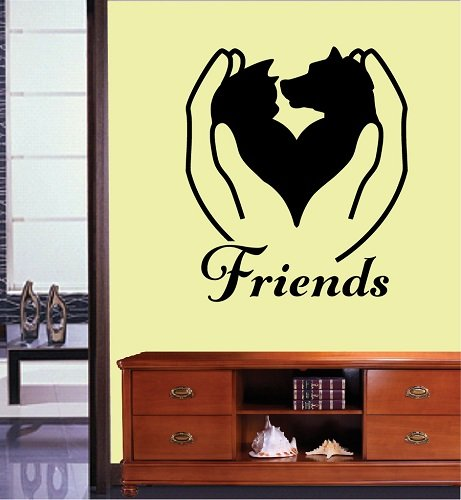 Pet Grooming Salon Vinyl Wall Decal Dog and Cat in Arms Friends Kids Room Pet Shop Mural Wall Sticker Pet Shop Salon Decoration