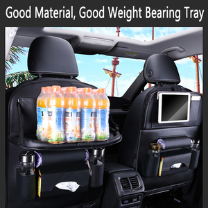 Image 4 - PU Leather Car Seat Back Bag Folding Table Organizer Pad Drink Chair Storage Box Travel Stowing Tidying Automobile Accessories