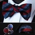BZS03R Vermelho Listrado Azul Dos Homens de Seda Auto Bow Tie lenço Abotoaduras conjunto