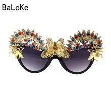 400a16d78 2018 جديد العلامة التجارية الباروك القط العين الزهور الأبيض النظارات الشمسية  الفاخرة النساء الأحجار الكريمة الشمس الشاطئ الكريست.