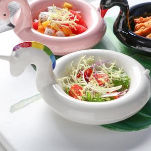 Image 2 - クリエイティブフラミンゴ雪だるまボウルボウルユニコーンスナックプレート黒白鳥スナックプレートアイスクリームヨーロッパスタイルのフルーツ皿
