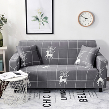 Nordic Style New Grey Plaid and Christmas Deer Universal Stretch Sofa Covers Anti-dirty couch cover/recliner cover for sofa full