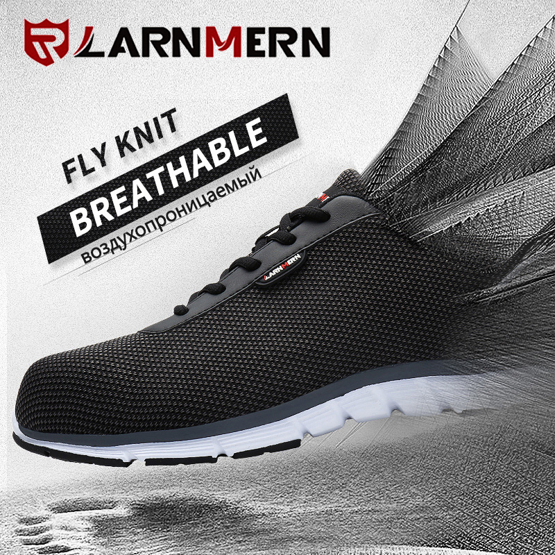 LARNMERN Men Steel Toe Safety Shoes For Men Lightweight Breathable Work Shoes Men's Security Footwear Protective Sneaker 5