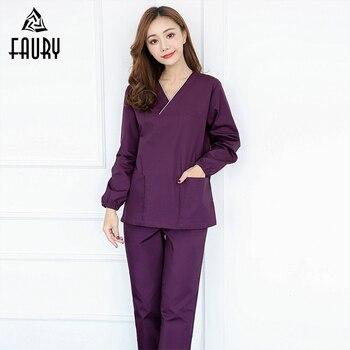 Purple V-neck Women's Doctor Nurse Work Uniform Long Sleeve Tops Pants Pet Hospital Medical Scrub Sets Lab Beauty Salon Overalls
